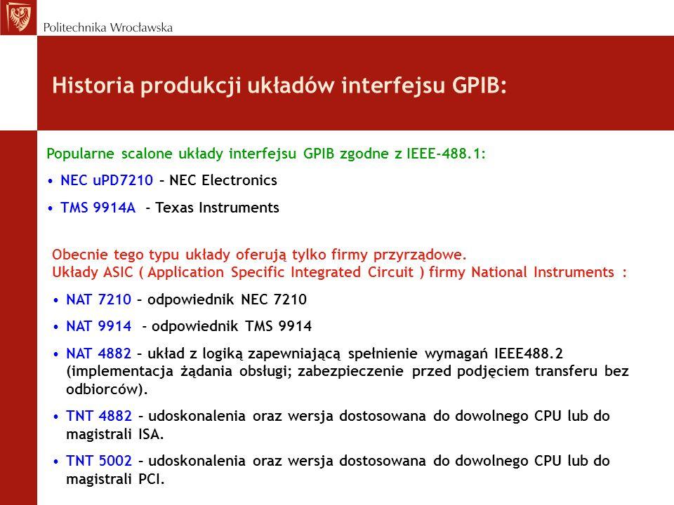 Historia produkcji układów interfejsu GPIB: Popularne scalone układy interfejsu GPIB zgodne z IEEE-488.1: NEC uPD7210 – NEC Electronics TMS 9914A - Te