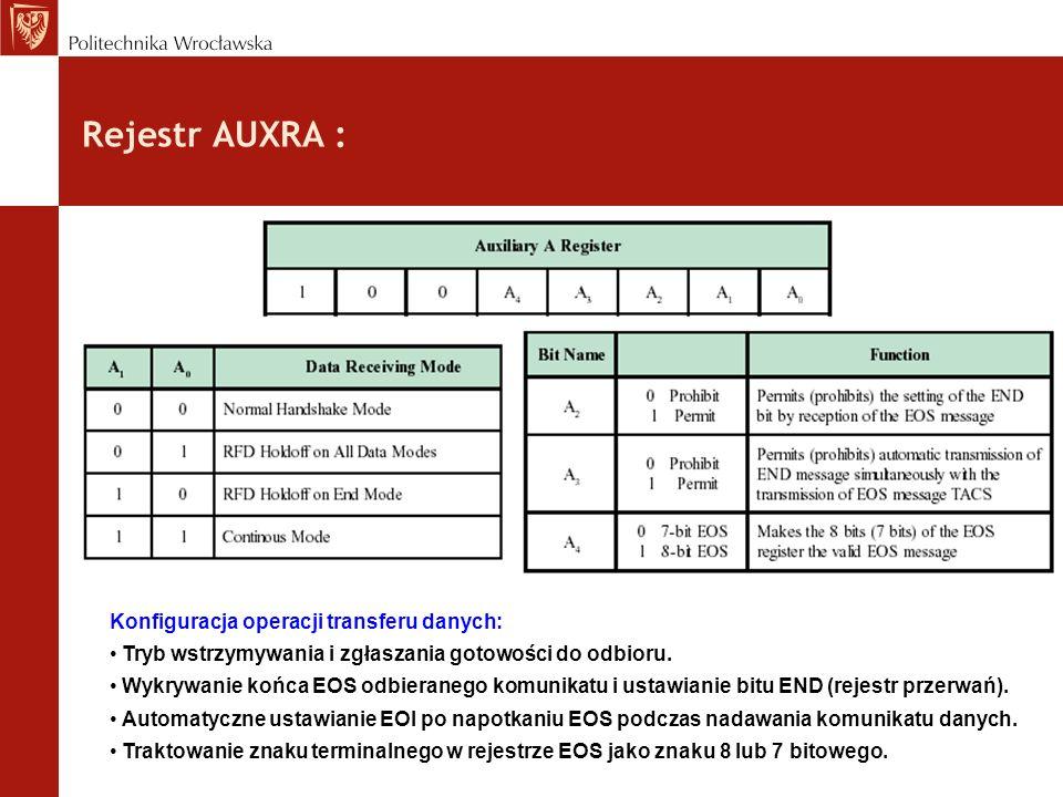 Rejestr AUXRA : Konfiguracja operacji transferu danych: Tryb wstrzymywania i zgłaszania gotowości do odbioru. Wykrywanie końca EOS odbieranego komunik
