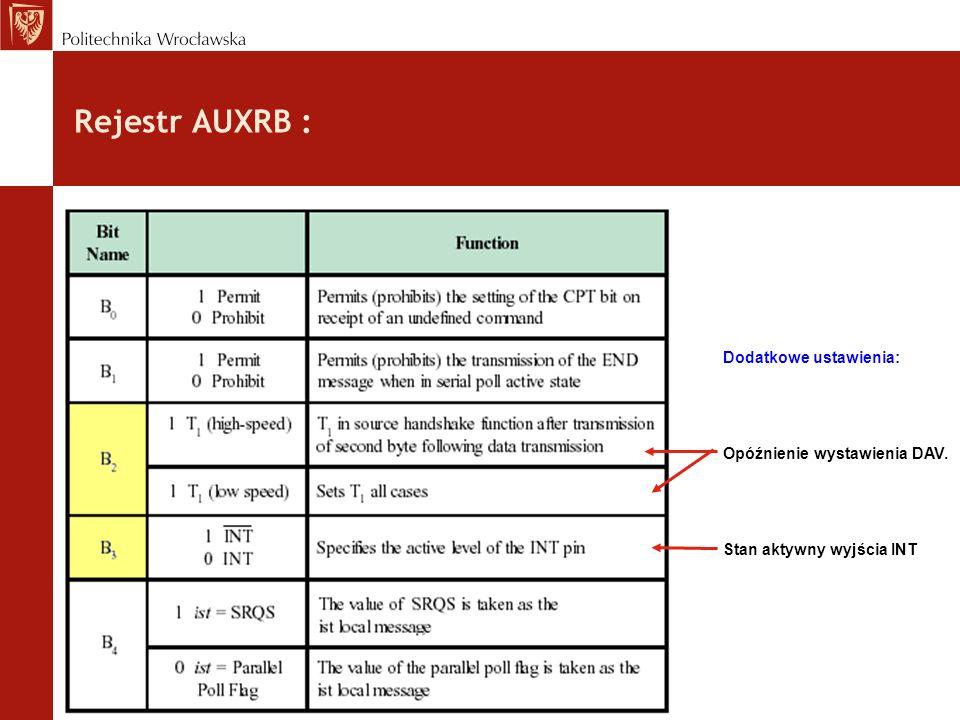 Rejestr AUXRB : Dodatkowe ustawienia: Opóźnienie wystawienia DAV. Stan aktywny wyjścia INT