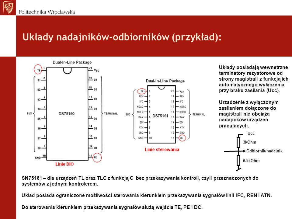 Układy nadajników-odbiorników (przykład): SN75161 – dla urządzeń TL oraz TLC z funkcją C bez przekazywania kontroli, czyli przeznaczonych do systemów