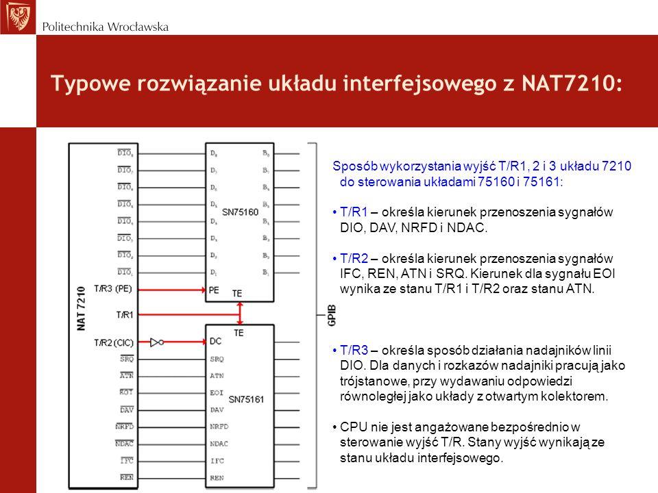 Typowe rozwiązanie układu interfejsowego z NAT7210: Sposób wykorzystania wyjść T/R1, 2 i 3 układu 7210 do sterowania układami 75160 i 75161: T/R1 – ok