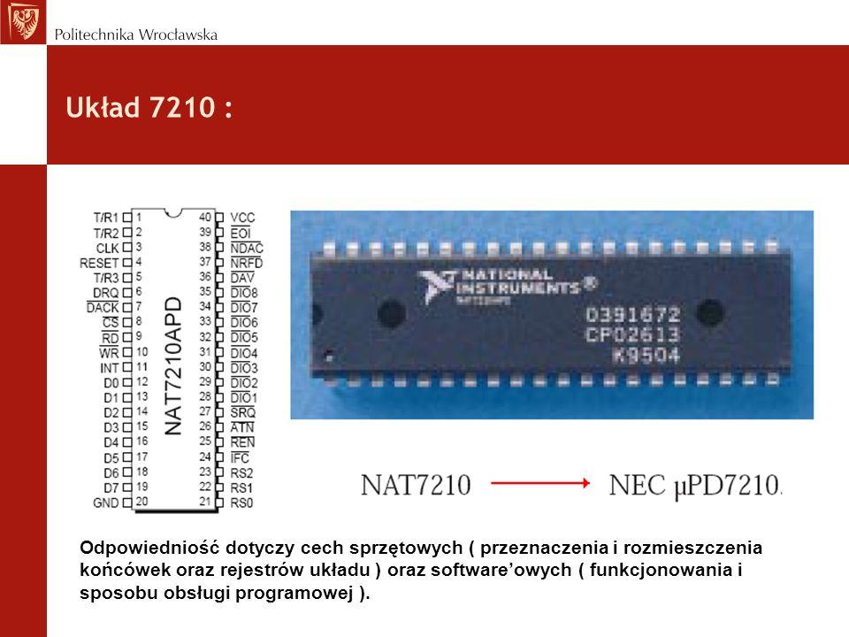 Układ 7210 : Odpowiedniość dotyczy cech sprzętowych ( przeznaczenia i rozmieszczenia końcówek oraz rejestrów układu ) oraz softwareowych ( funkcjonowa
