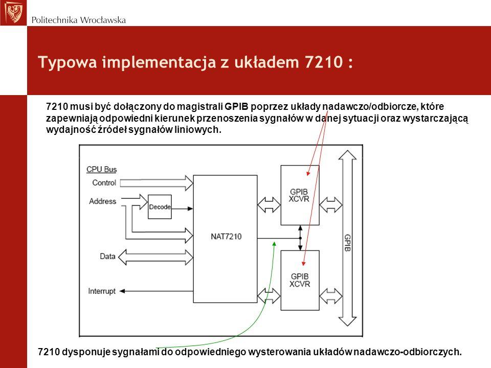 Typowa implementacja z układem 7210 : 7210 musi być dołączony do magistrali GPIB poprzez układy nadawczo/odbiorcze, które zapewniają odpowiedni kierun