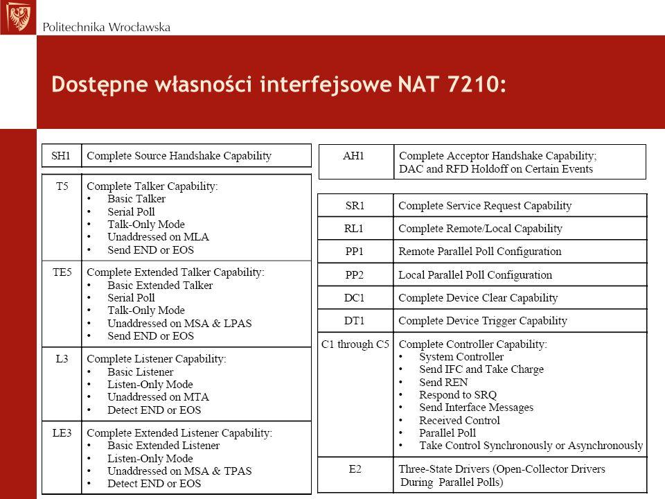 Struktura NAT 7210 : CPU GPIB Zestaw rejestrów wewnętrznych 7210: konfigurujących, sterujących jego działaniem, pośredniczących w przenoszeniu danych i rozkazów pomiędzy CPU a GPIB itd.