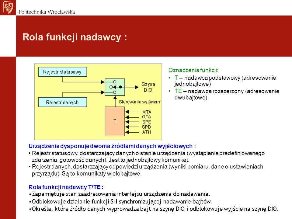 Rola funkcji nadawcy : Urządzenie dysponuje dwoma źródłami danych wyjściowych : Rejestr statusowy, dostarczający danych o stanie urządzenia (wystąpien