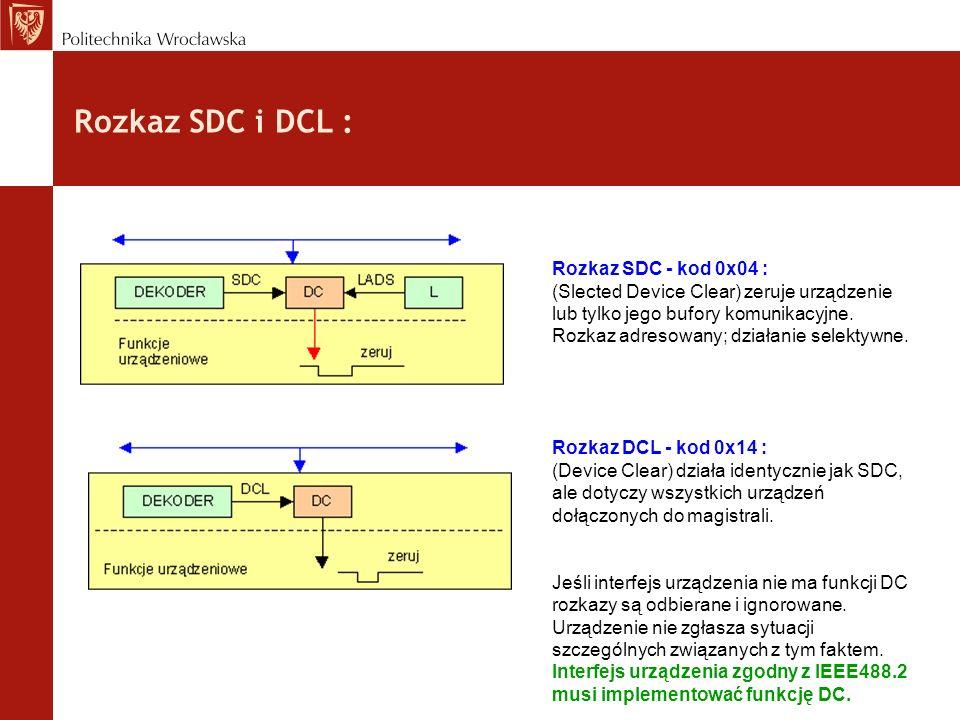 Rozkaz SDC i DCL : Rozkaz SDC - kod 0x04 : (Slected Device Clear) zeruje urządzenie lub tylko jego bufory komunikacyjne. Rozkaz adresowany; działanie