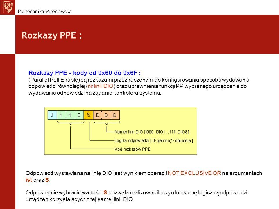 Rozkazy PPE : Rozkazy PPE - kody od 0x60 do 0x6F : (Parallel Poll Enable) są rozkazami przeznaczonymi do konfigurowania sposobu wydawania odpowiedzi r