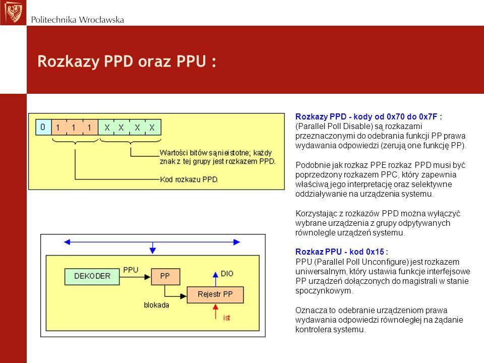Rozkazy PPD oraz PPU : Rozkazy PPD - kody od 0x70 do 0x7F : (Parallel Poll Disable) są rozkazami przeznaczonymi do odebrania funkcji PP prawa wydawani