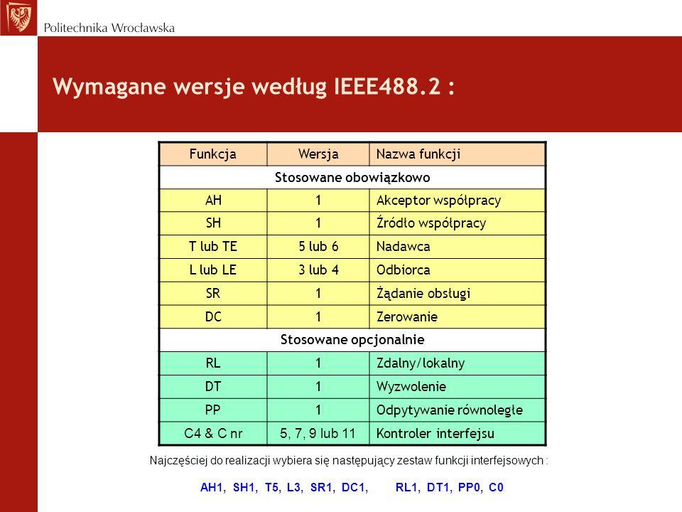 Wymagane wersje według IEEE488.2 : FunkcjaWersjaNazwa funkcji Stosowane obowiązkowo AH1Akceptor współpracy SH1Źródło współpracy T lub TE5 lub 6Nadawca