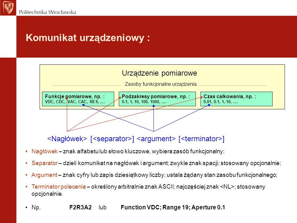 Komunikat urządzeniowy : Funkcje pomiarowe, np. : VDC, CDC, VAC, CAC, RES,.... Podzakresy pomiarowe, np. : 0.1, 1, 10, 100, 1000,.... Czas całkowania,