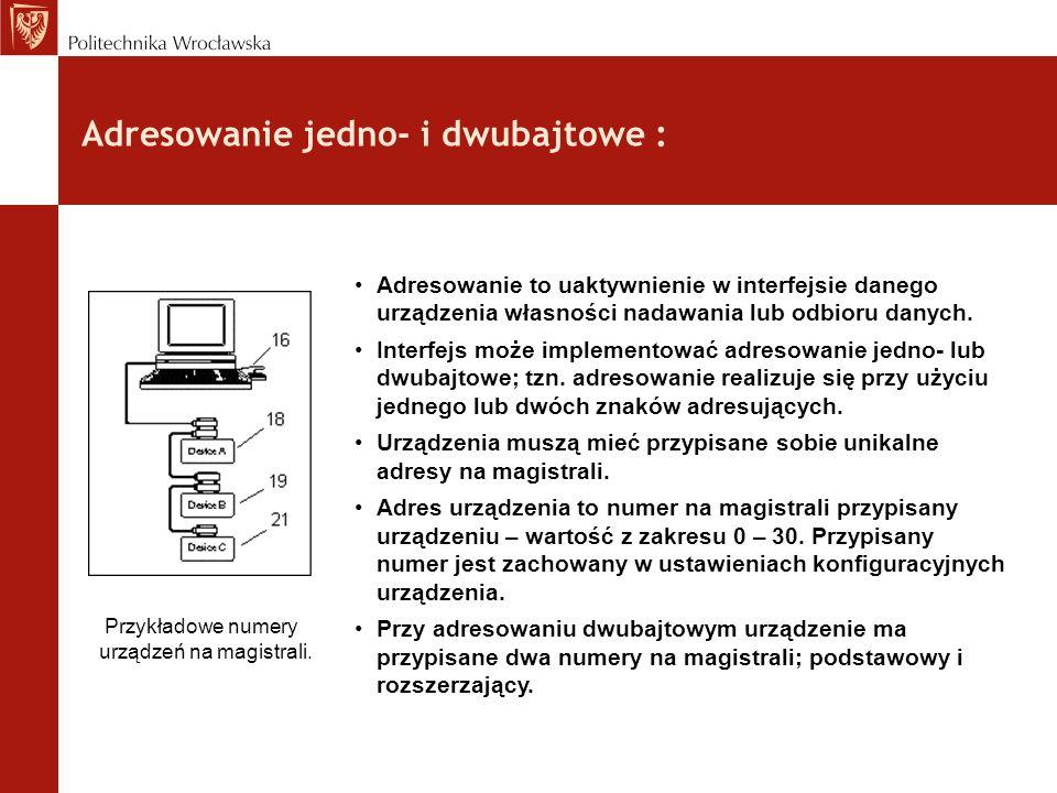 Adresowanie jedno- i dwubajtowe : Adresowanie to uaktywnienie w interfejsie danego urządzenia własności nadawania lub odbioru danych. Interfejs może i