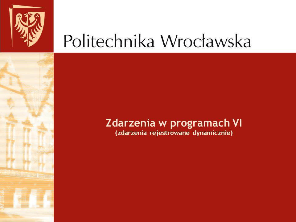 Zdarzenia w programach VI (zdarzenia rejestrowane dynamicznie)