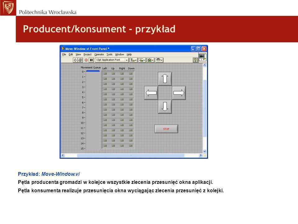 Producent/konsument - przykład Przykład: Move-Window.vi Pętla producenta gromadzi w kolejce wszystkie zlecenia przesunięć okna aplikacji. Pętla konsum