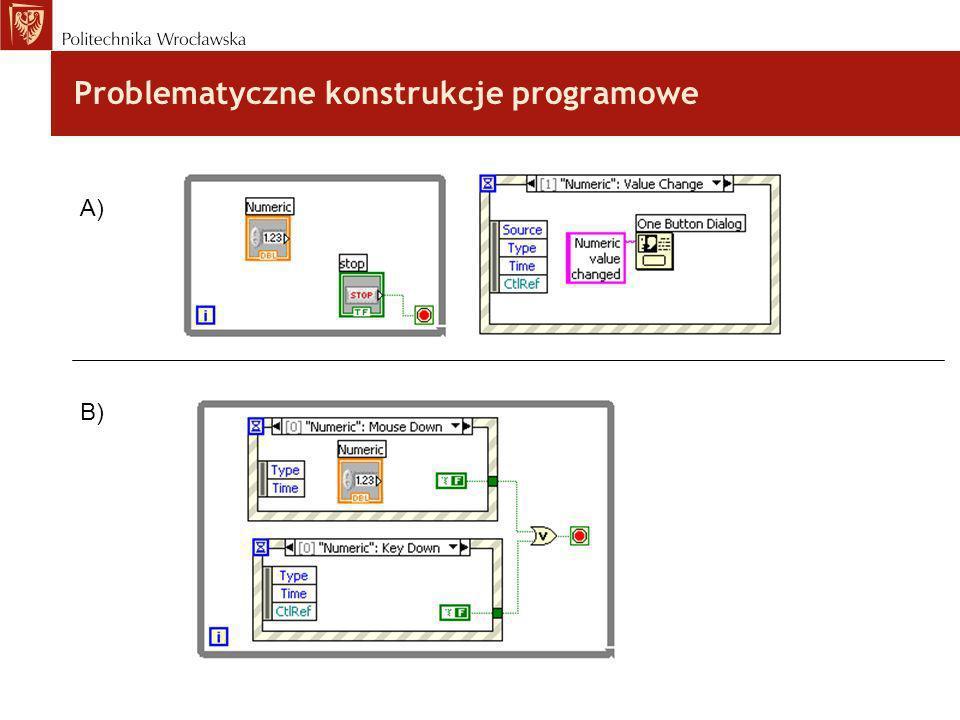Problematyczne konstrukcje programowe A) B)
