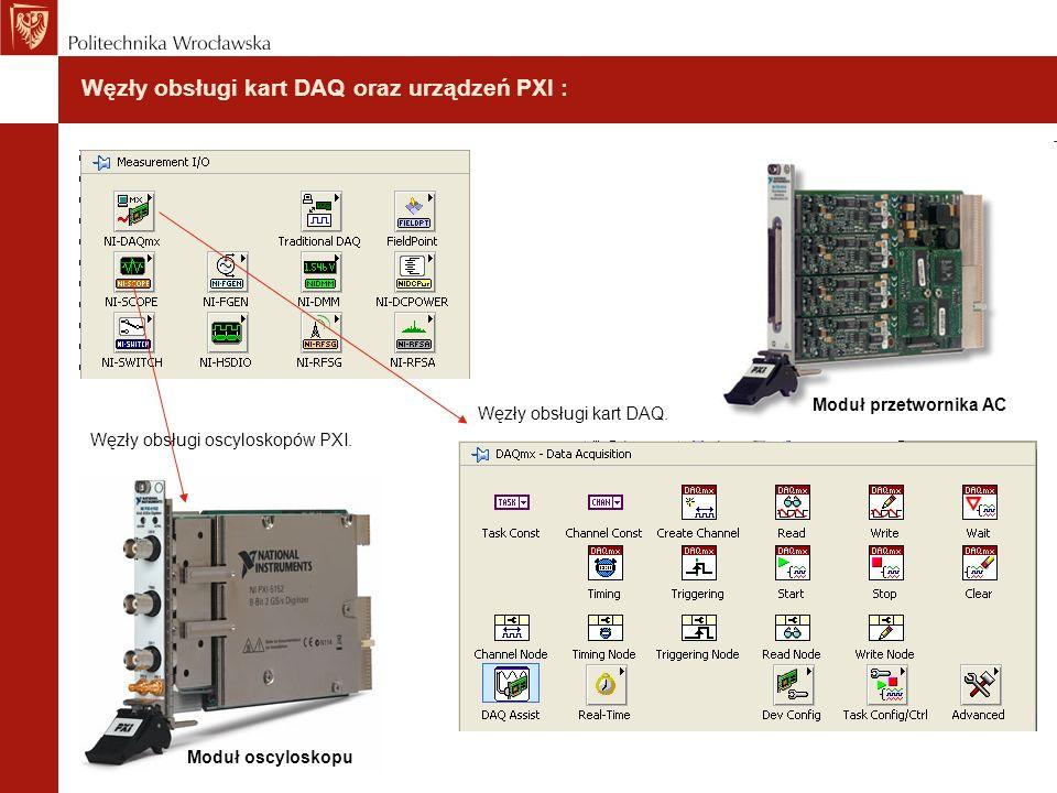Węzły obsługi kart DAQ oraz urządzeń PXI : Moduł przetwornika AC Węzły obsługi kart DAQ. Węzły obsługi oscyloskopów PXI. Moduł oscyloskopu