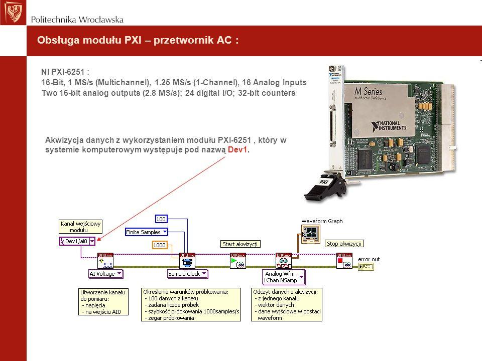 Obsługa modułu PXI – przetwornik AC : NI PXI-6251 : 16-Bit, 1 MS/s (Multichannel), 1.25 MS/s (1-Channel), 16 Analog Inputs Two 16-bit analog outputs (