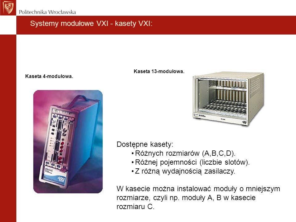 Systemy modułowe VXI - kasety VXI: Kaseta 13-modułowa. Kaseta 4-modułowa. Dostępne kasety: Różnych rozmiarów (A,B,C,D). Różnej pojemności (liczbie slo
