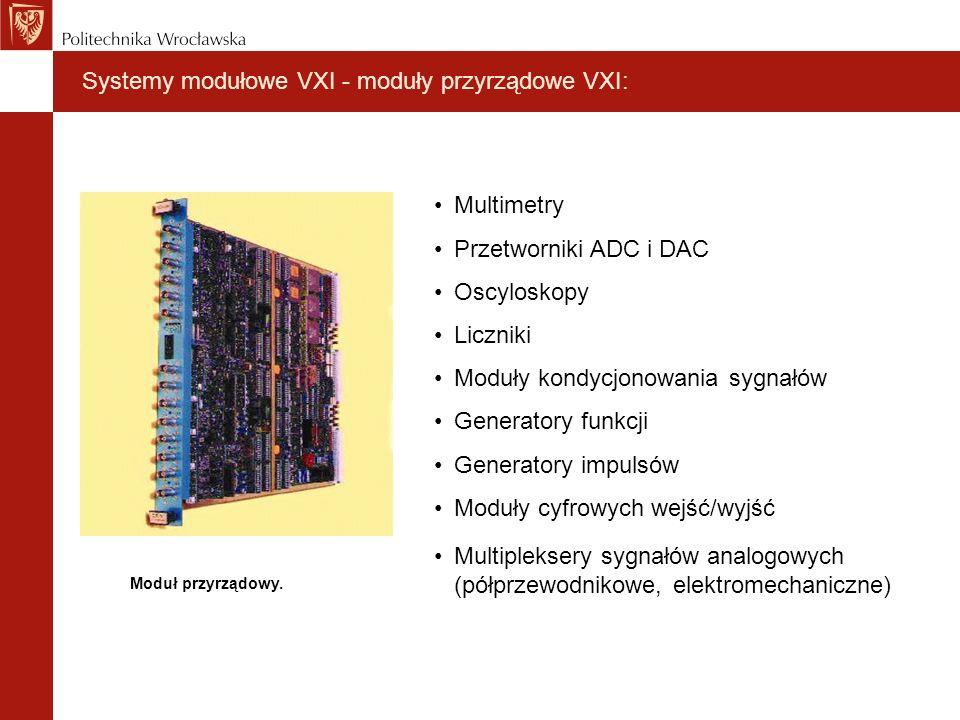 Systemy modułowe VXI - moduły przyrządowe VXI: Moduł przyrządowy. Multimetry Przetworniki ADC i DAC Oscyloskopy Liczniki Moduły kondycjonowania sygnał