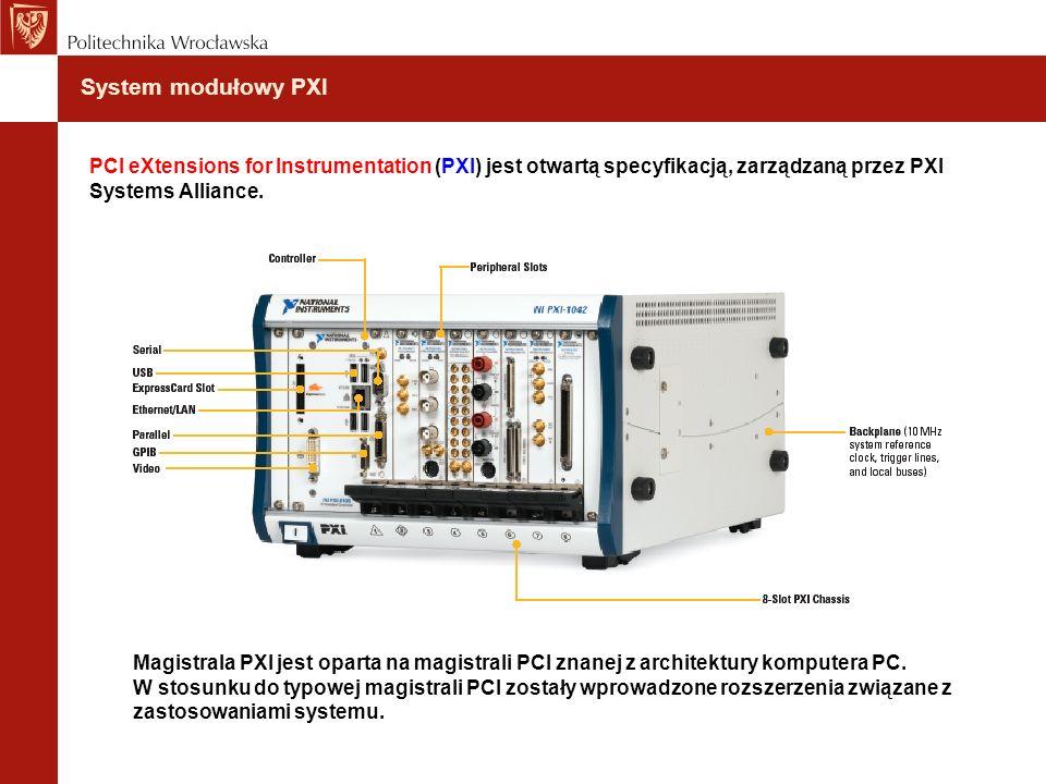 System modułowy PXI Magistrala PXI jest oparta na magistrali PCI znanej z architektury komputera PC. W stosunku do typowej magistrali PCI zostały wpro