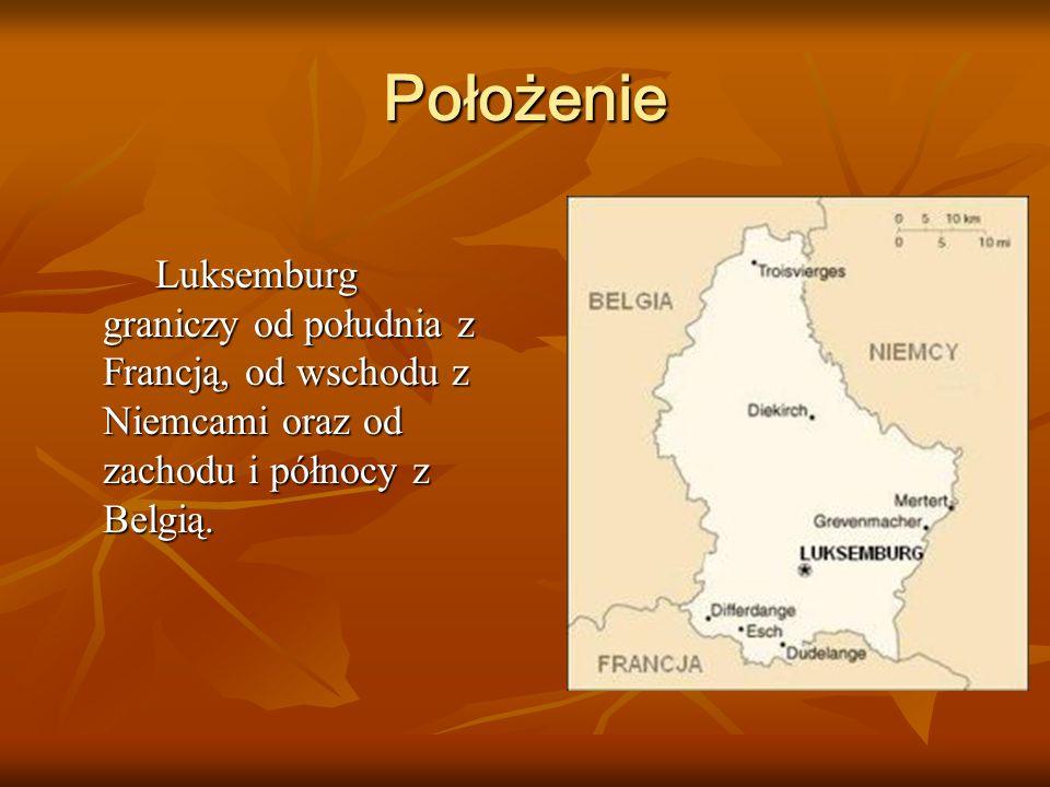 Położenie Luksemburg graniczy od południa z Francją, od wschodu z Niemcami oraz od zachodu i północy z Belgią. Luksemburg graniczy od południa z Franc