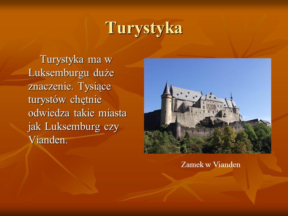 Turystyka Turystyka ma w Luksemburgu duże znaczenie. Tysiące turystów chętnie odwiedza takie miasta jak Luksemburg czy Vianden. Turystyka ma w Luksemb