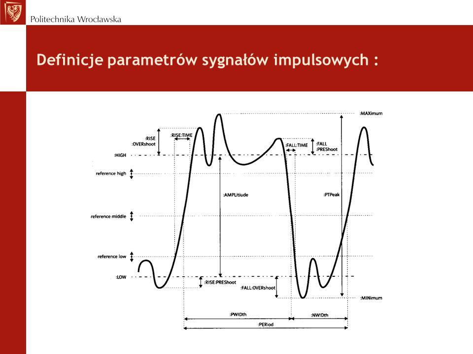 Definicje parametrów sygnałów impulsowych :