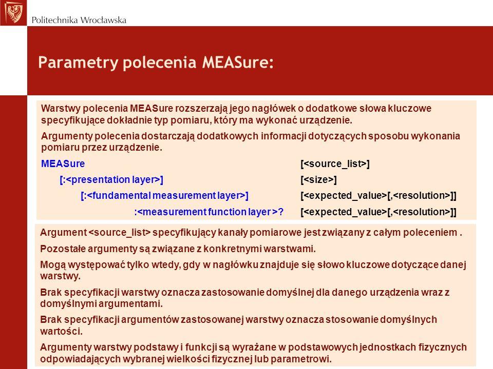 Parametry polecenia MEASure: Warstwy polecenia MEASure rozszerzają jego nagłówek o dodatkowe słowa kluczowe specyfikujące dokładnie typ pomiaru, który