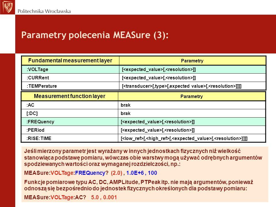 Parametry polecenia MEASure (3): Jeśli mierzony parametr jest wyrażany w innych jednostkach fizycznych niż wielkość stanowiąca podstawę pomiaru, wówcz