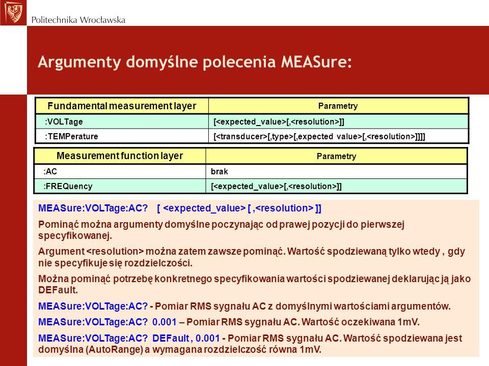 Argumenty domyślne polecenia MEASure: MEASure:VOLTage:AC? [ [, ]] Pominąć można argumenty domyślne poczynając od prawej pozycji do pierwszej specyfiko