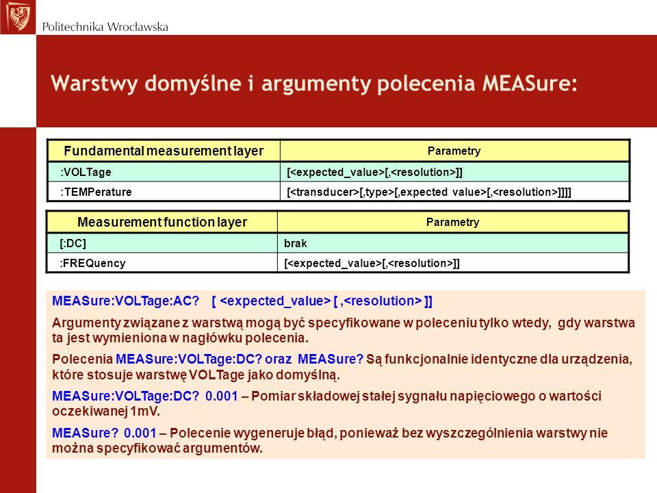 Warstwy domyślne i argumenty polecenia MEASure: MEASure:VOLTage:AC? [ [, ]] Argumenty związane z warstwą mogą być specyfikowane w poleceniu tylko wted