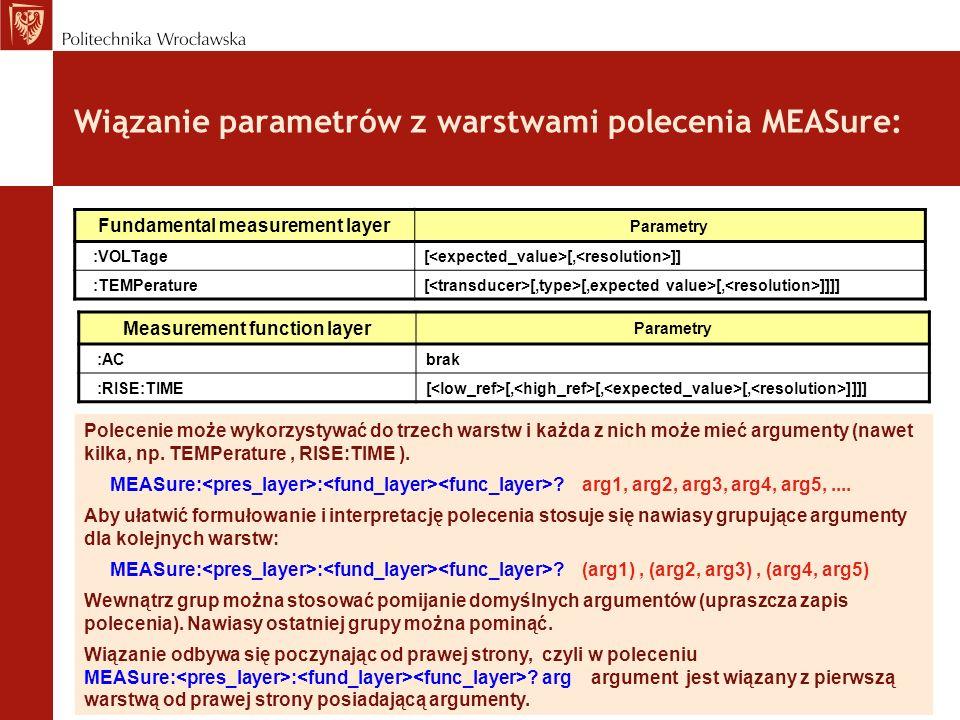Wiązanie parametrów z warstwami polecenia MEASure: Polecenie może wykorzystywać do trzech warstw i każda z nich może mieć argumenty (nawet kilka, np.