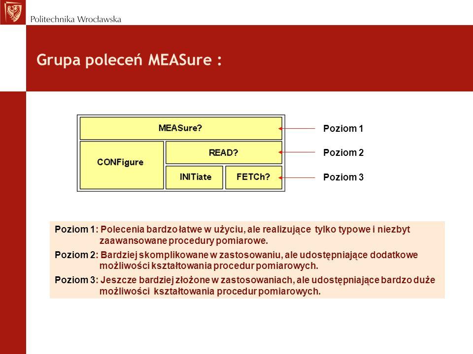 Grupa poleceń MEASure : Poziom 1: Polecenia bardzo łatwe w użyciu, ale realizujące tylko typowe i niezbyt zaawansowane procedury pomiarowe. Poziom 2: