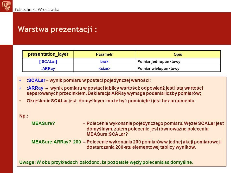 Warstwa prezentacji : :SCALar – wynik pomiaru w postaci pojedynczej wartości; :ARRay – wynik pomiaru w postaci tablicy wartości; odpowiedź jest listą