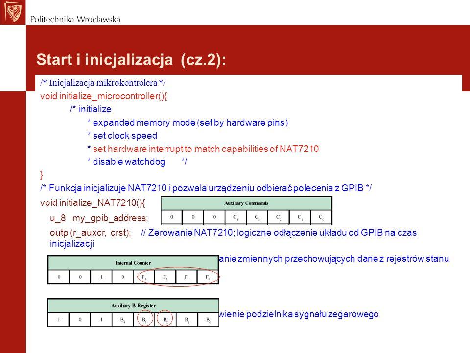 Start i inicjalizacja (cz.2): /* Inicjalizacja mikrokontrolera */ void initialize_microcontroller(){ /* initialize * expanded memory mode (set by hard
