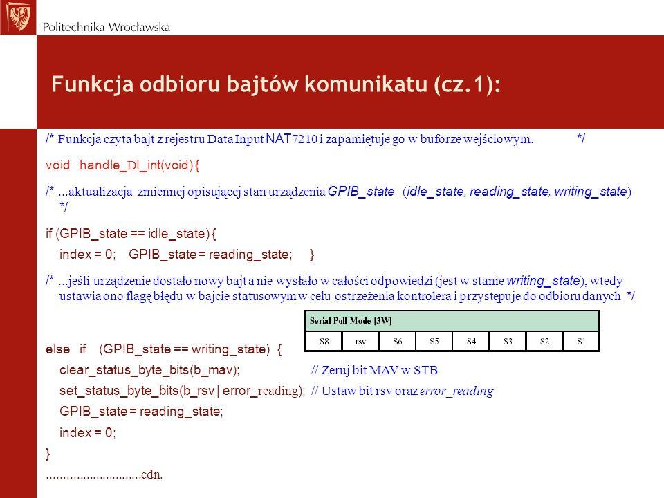 Funkcja odbioru bajtów komunikatu (cz.1): /* Funkcja czyta bajt z rejestru Data Input NAT 7210 i zapamiętuje go w buforze wejściowym. */ void handle_