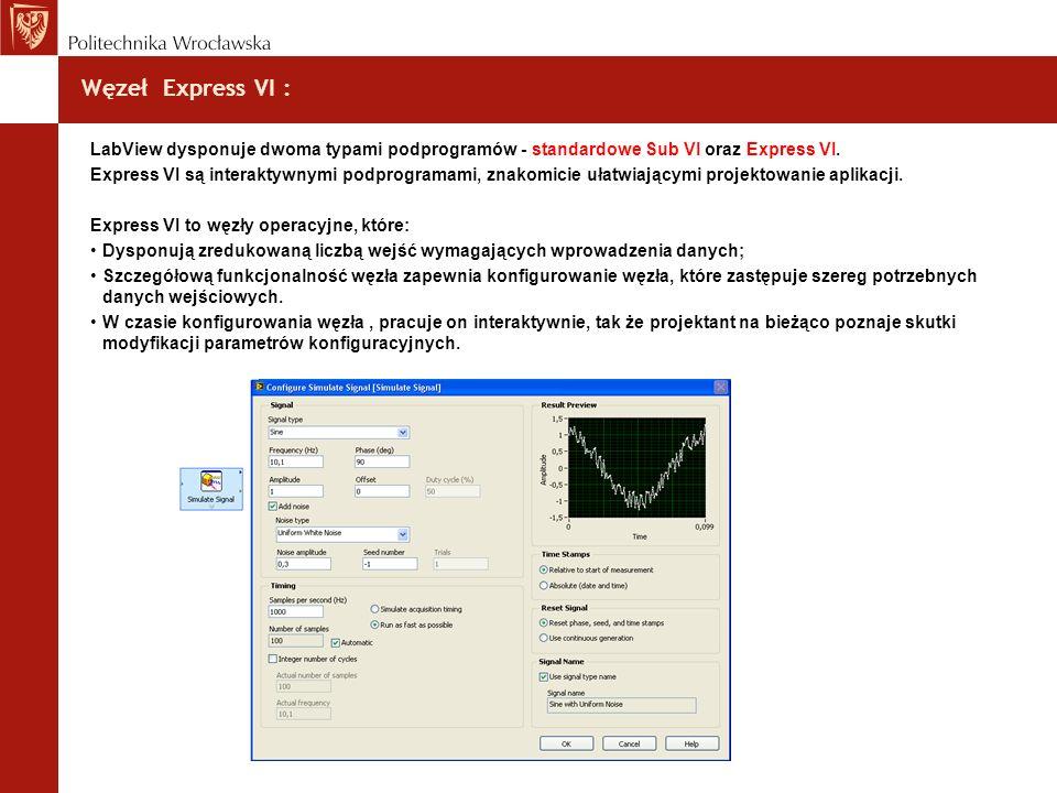 Węzeł Express VI : LabView dysponuje dwoma typami podprogramów - standardowe Sub VI oraz Express VI. Express VI są interaktywnymi podprogramami, znako