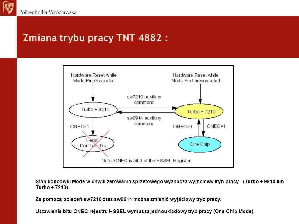 Zmiana trybu pracy TNT 4882 : Stan końcówki Mode w chwili zerowania sprzętowego wyznacza wyjściowy tryb pracy (Turbo + 9914 lub Turbo + 7210).