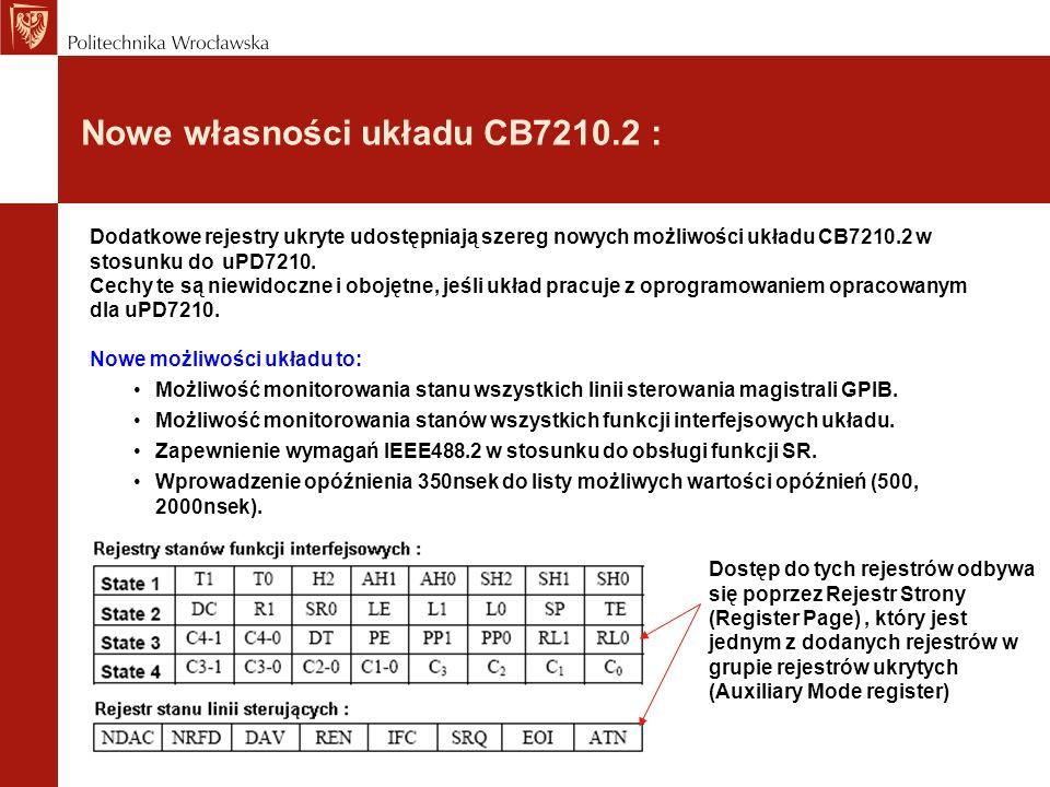 Nowe własności układu CB7210.2 : Dodatkowe rejestry ukryte udostępniają szereg nowych możliwości układu CB7210.2 w stosunku do uPD7210.