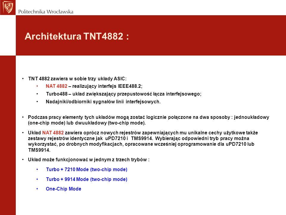 Architektura TNT4882 : TNT 4882 zawiera w sobie trzy układy ASIC: NAT 4882 – realizujący interfejs IEEE488.2; Turbo488 – układ zwiększający przepustowość łącza interfejsowego; Nadajniki/odbiorniki sygnałów linii interfejsowych.