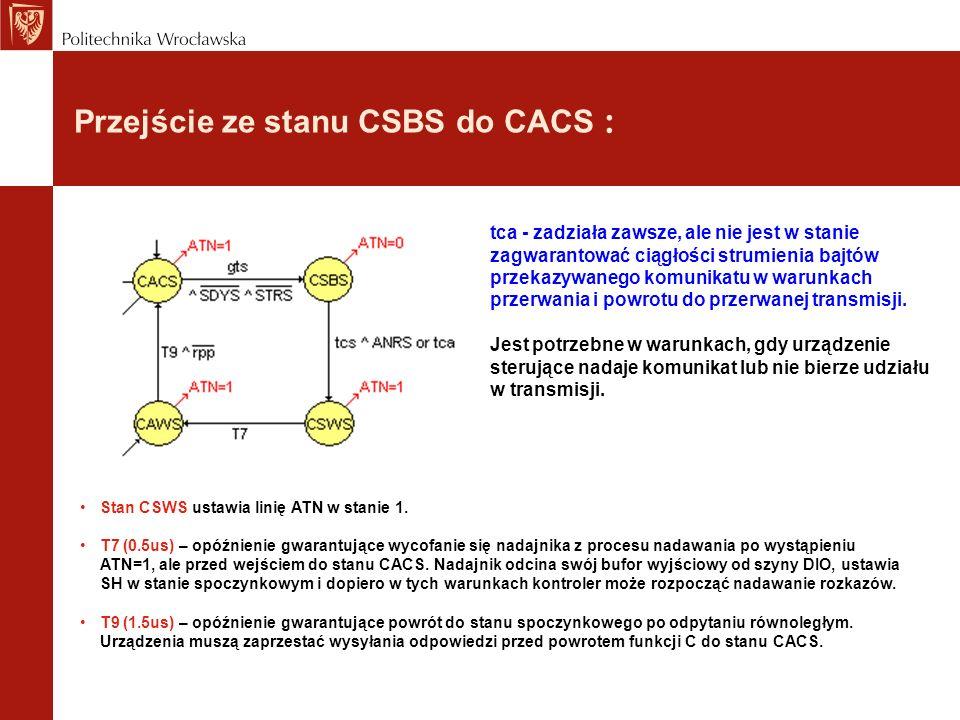 Przejście ze stanu CSBS do CACS : tca - zadziała zawsze, ale nie jest w stanie zagwarantować ciągłości strumienia bajtów przekazywanego komunikatu w w