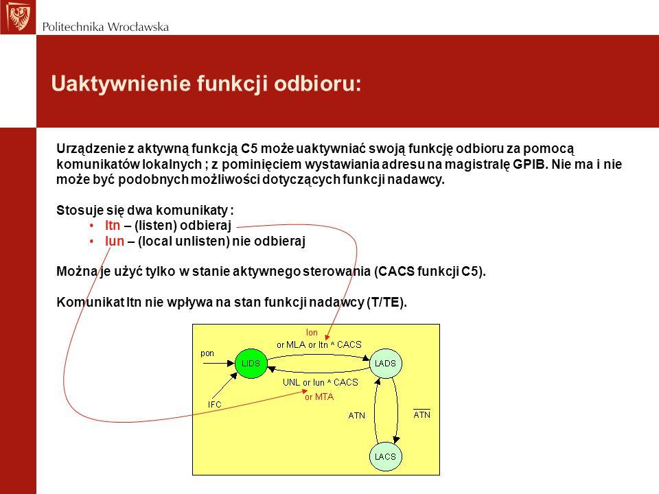 Uaktywnienie funkcji odbioru: Urządzenie z aktywną funkcją C5 może uaktywniać swoją funkcję odbioru za pomocą komunikatów lokalnych ; z pominięciem wy