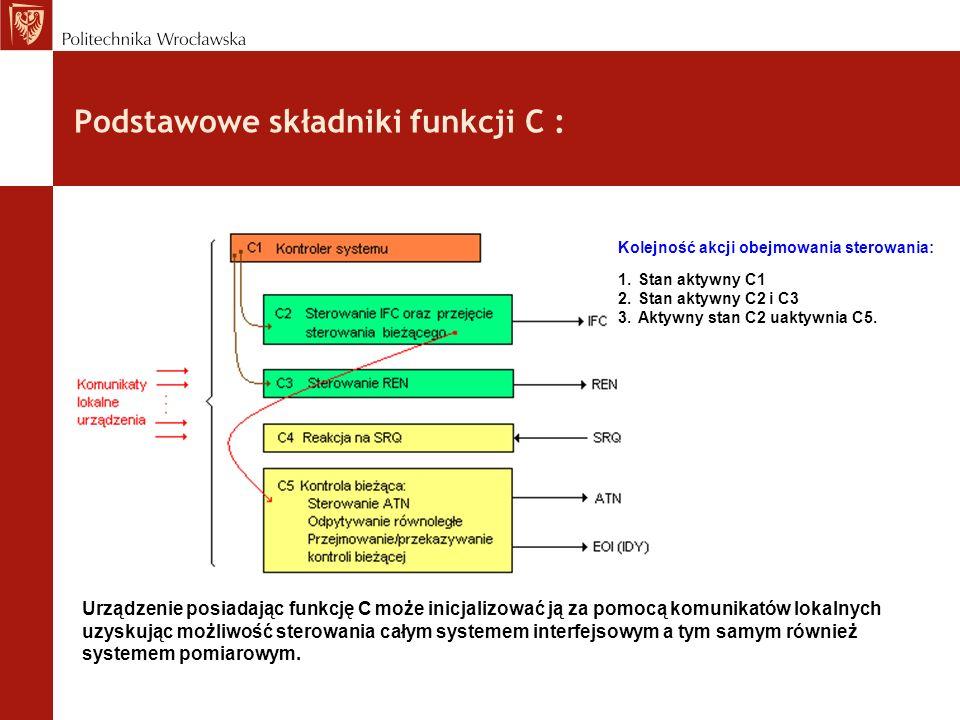 Podstawowe składniki funkcji C : Urządzenie posiadając funkcję C może inicjalizować ją za pomocą komunikatów lokalnych uzyskując możliwość sterowania