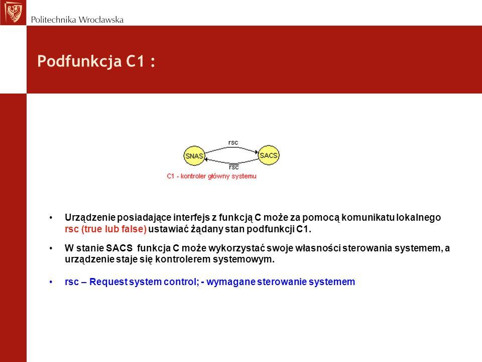 Podfunkcja C1 : Urządzenie posiadające interfejs z funkcją C może za pomocą komunikatu lokalnego rsc (true lub false) ustawiać żądany stan podfunkcji