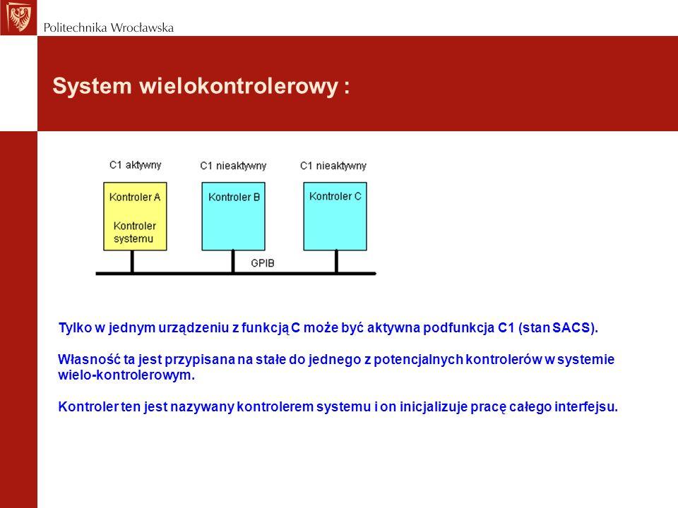 System wielokontrolerowy : Tylko w jednym urządzeniu z funkcją C może być aktywna podfunkcja C1 (stan SACS). Własność ta jest przypisana na stałe do j