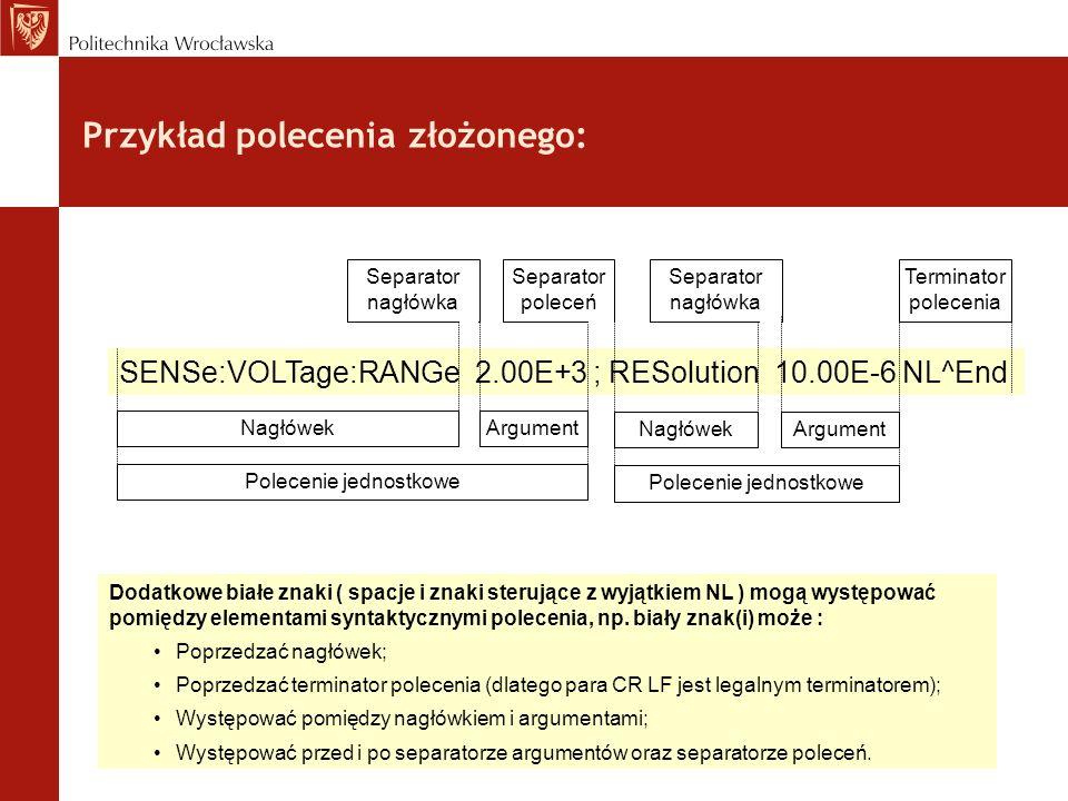 Przykład polecenia złożonego: Dodatkowe białe znaki ( spacje i znaki sterujące z wyjątkiem NL ) mogą występować pomiędzy elementami syntaktycznymi pol
