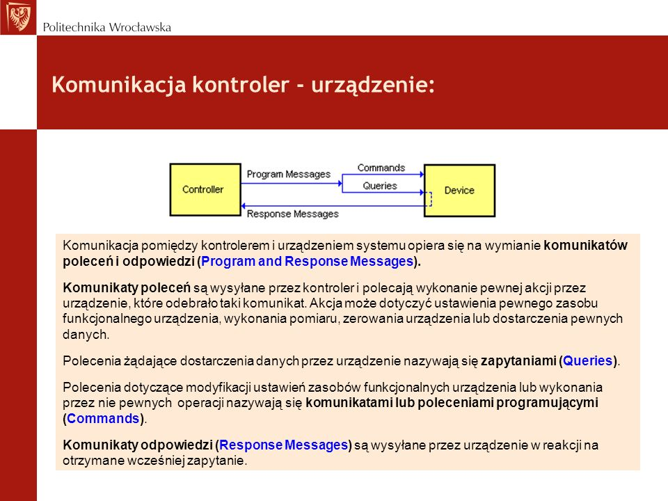 Komunikacja kontroler - urządzenie: Komunikacja pomiędzy kontrolerem i urządzeniem systemu opiera się na wymianie komunikatów poleceń i odpowiedzi (Pr