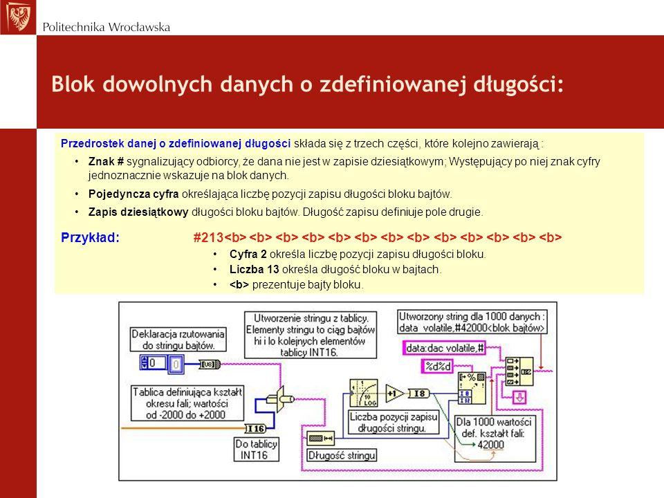 Blok dowolnych danych o zdefiniowanej długości: Przedrostek danej o zdefiniowanej długości składa się z trzech części, które kolejno zawierają : Znak