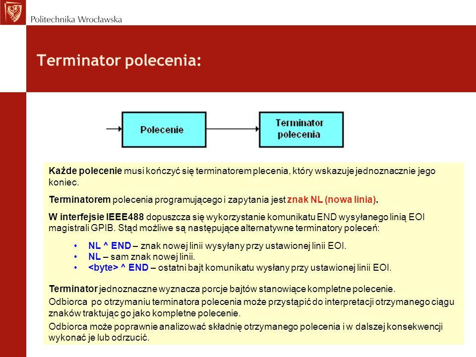 Automatyczne wstawianie terminatora: Stosowanie terminatorów poleceń jest bardzo ważne dla uzyskania właściwej komunikacji pomiędzy kontrolerem i urządzeniem.