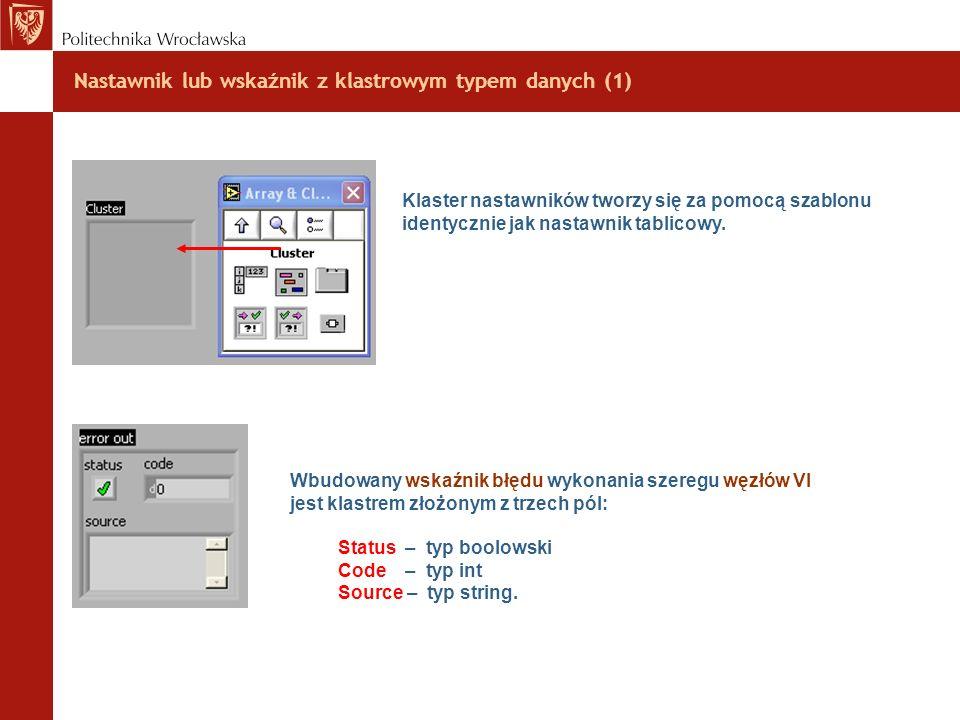 Nastawnik lub wskaźnik z klastrowym typem danych (1) Klaster nastawników tworzy się za pomocą szablonu identycznie jak nastawnik tablicowy. Wbudowany