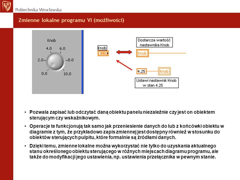 Zmienne lokalne programu VI (możliwości) Pozwala zapisać lub odczytać daną obiektu panelu niezależnie czy jest on obiektem sterującym czy wskaźnikowym